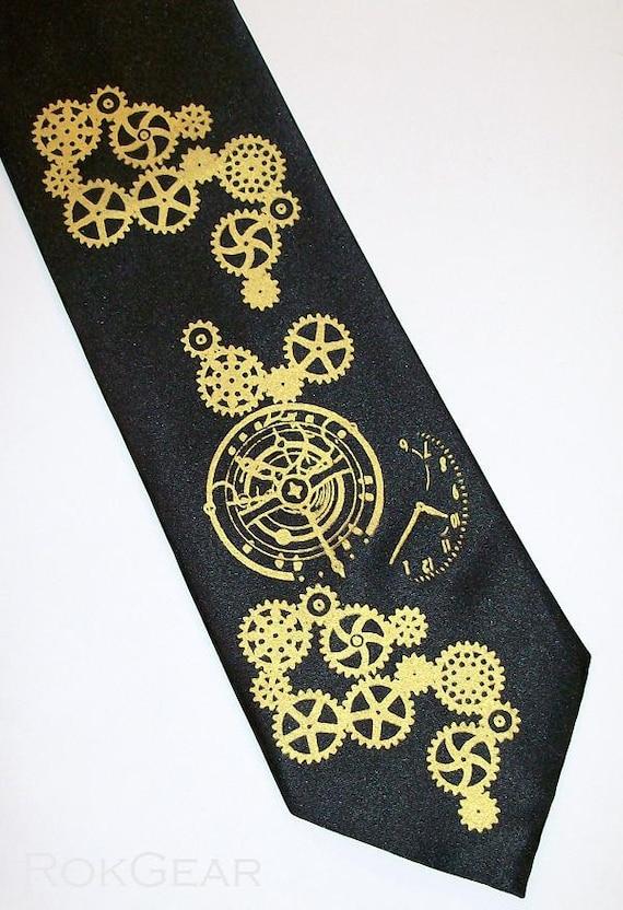 man tie neck tie, mens clock worx steampunk silksceen necktie