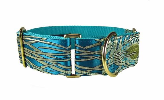Martingale Collar , Greyhound Dog Collar , Fancy Dog Collar in Jade Green Peacock Silk
