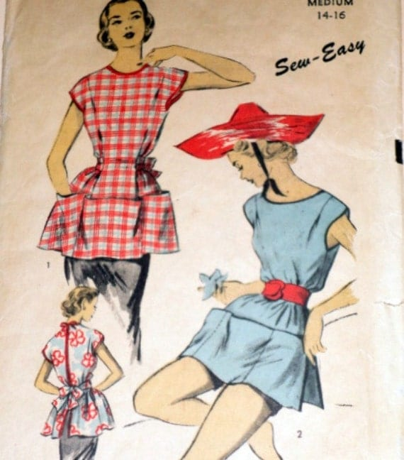 Vintage 1940s Advance 5998 Sewing Pattern, Cobbler's Apron And Poncho, Size Medium 14-16
