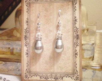 LIA EARRINGS - Swarovski Pearl/Crystal Drop Earrings