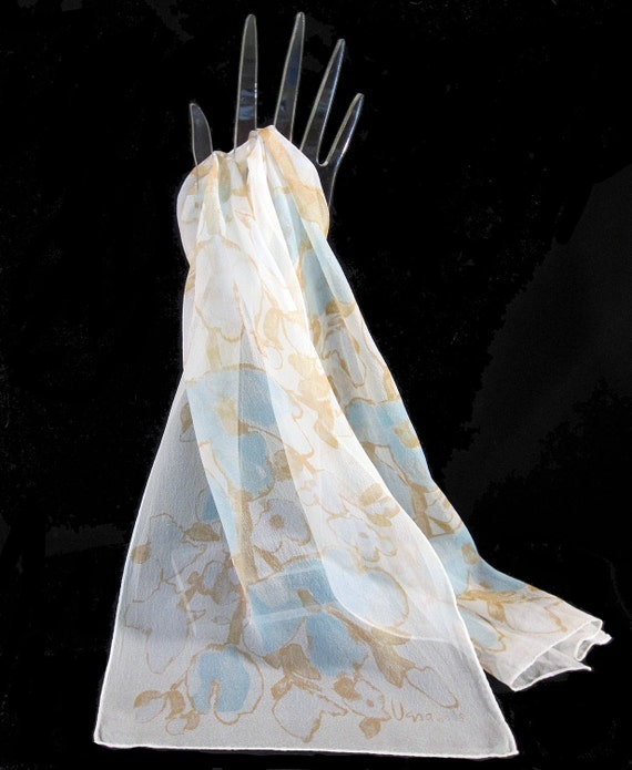 Vintage Vera Neumann Scarf  60s Long Wispy Silk Chiffon Blue Brown Floral Ladybug