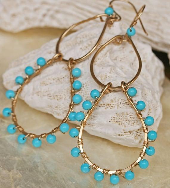 Turquoise Earrings, Sleeping Beauty Turquoise Earrings, Gold Hoop Earrings, December Birthstone, Turquoise Jewelry, Something Blue