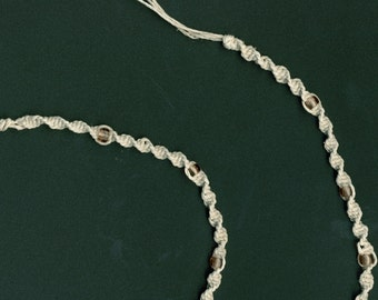 SALE - Hemp necklace with pale pink glass beads and pewter moon charm