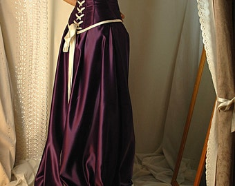 STANDARD SIZE Guinevere - cadbury purple and antiqued ivory Bridal gown with steel boned corset