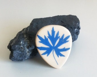 Blue Leaf Ceramic Brooch Pin Vintage
