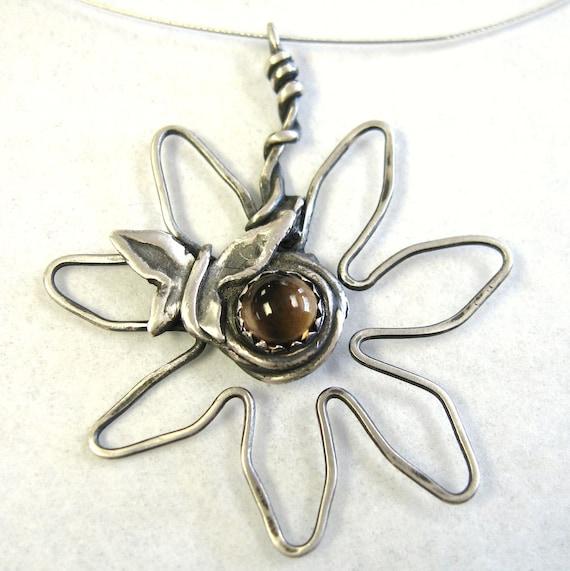 Smoky Quartz pendant,  Daisy flower pendant, Butterfly totem pendant,  wire pendant, fine silver, sterling pendant, gemstone jewelry