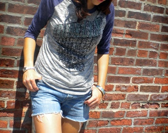 Brooklyn Baseball Tee in Grey and Navy Burnout for Men and Women