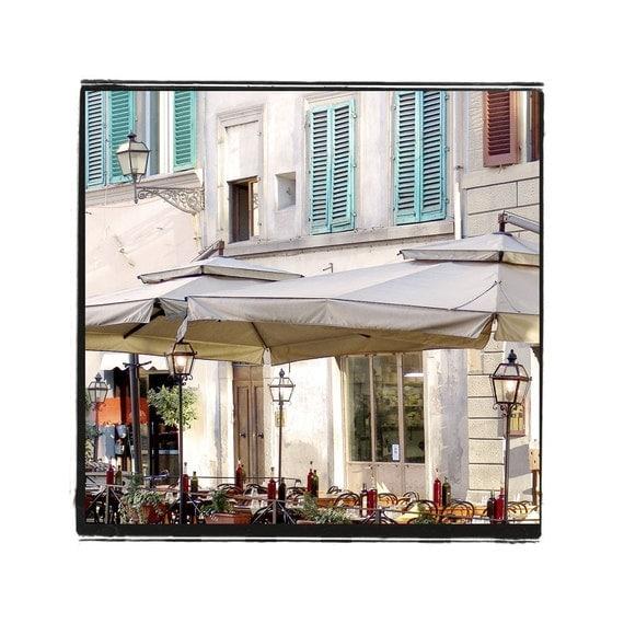 Fine Art Dining Photograph Trattoria Italiano Italy Bistro Al Fresco Restaurant Wine Firenze Florence  Turquoise Food Romance