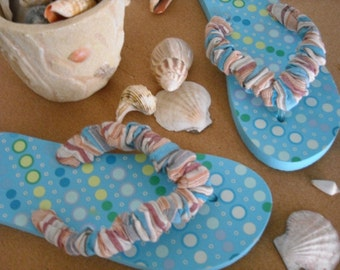 Sandals/Flip Flops/Women's Sandals/Summer Gift for Her/Cruise Wear/Beach Wear/Comfort Flip Flops/Turquoise Flip Flops/Full Circle Flip Flops