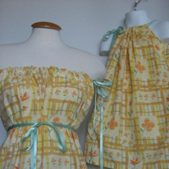 Mommy and Me Dress. matching Pillowcase Dress / Tunic Tube Top. Orange Soda