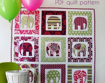 BABY QUILT PATTERN (pdf) - Cirque d'Elephant by Sew Much Ado