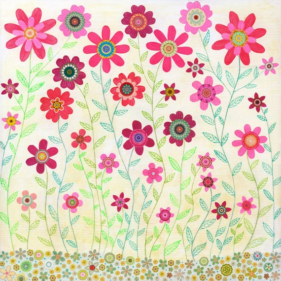 Pink Floral Painting Spring Retro Flower Painting Large Poster Print - Large Art Print - Floral Wall Art
