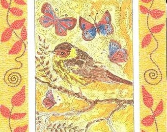 Little Bird Printed Card Mosaic Border Theodora Yellow