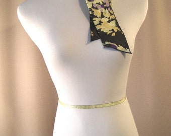 Headband - Ponytail Scarf - Black Purple Yellow Floral Silky