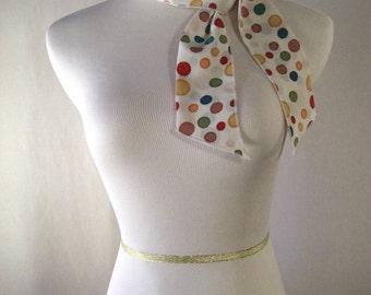 Ponytail Scarf - Headband - Necktie - Hatband - Multi Color Dots -  Silky Satin Peachskin