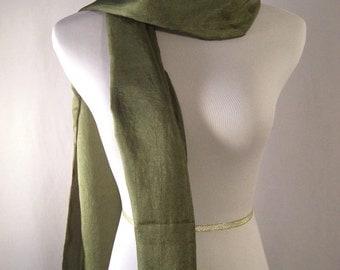 Long  Scarf - Crinkled Silky Satin Scarf - Dark Green Scarf - Olive Green Scarf - Dressy Scarf