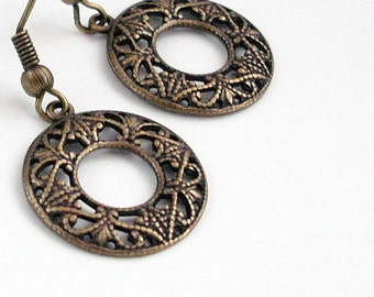 Bronze Filigree Hoop Earrings