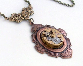 Steampunk Necklace Handmade Jewelry - Time Lost