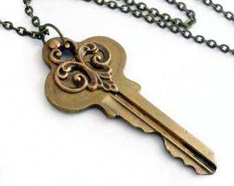 Recycled Key Necklace - Past Secrets - Handmade Jewelry