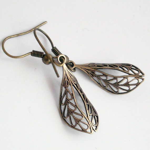Bronze Filigree Drop Earrings