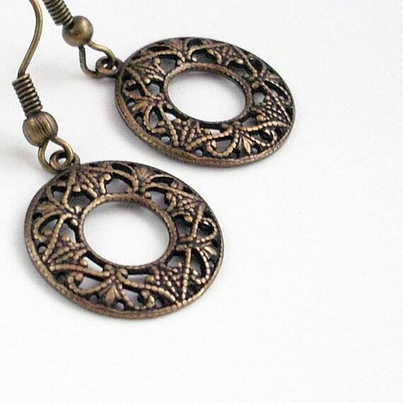 Bronze Filigree Hoop Earrings