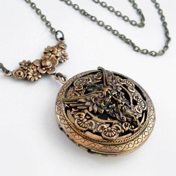The Green Man - Round Bronze Scent Locket