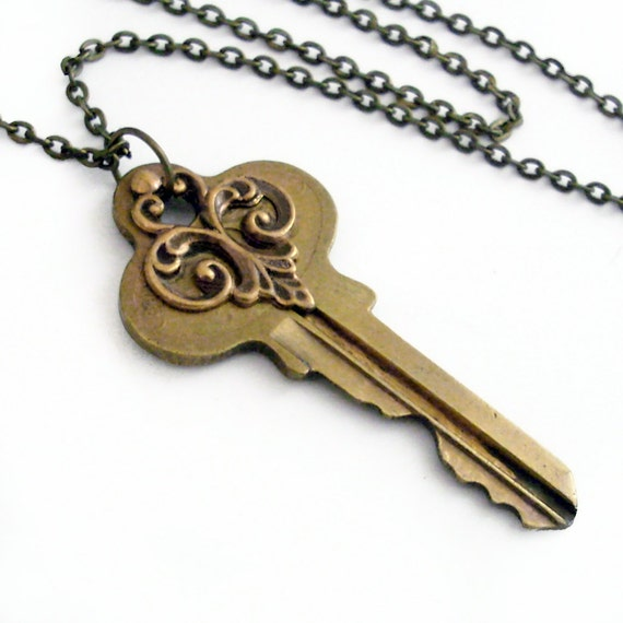 recycled key necklace past secrets handmade by