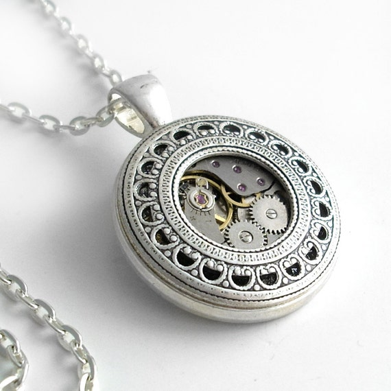 Keeping Time - Steampunk Necklace Silver Jewelry Pendant