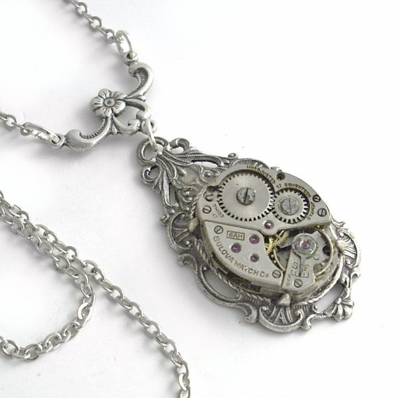 Time for You - Silver Steampunk Pendant Necklace Jewelry