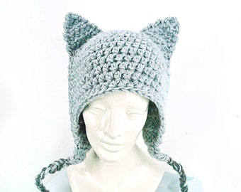 Grey Kitten Ears -EarFlap Hat
