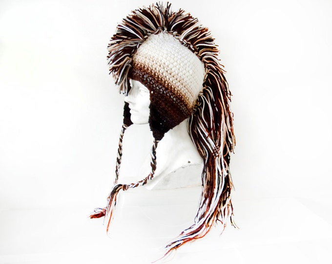 Mohawk Hat Earthy Brown Tones Ombre and White