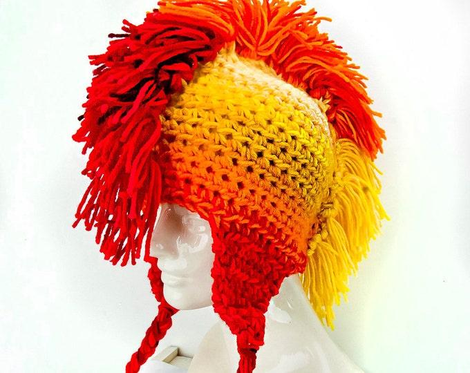 Sun Burst Yellow Orange and Red Fade Mohawk  Ear Flap Hat