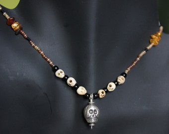 """13""""  Necklace with Sterling Silver Skull"""