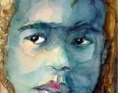 Art Painting Watercolor Rasta Dreadlock Black Boy Jamaican  PRINT