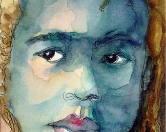 Art Painting Watercolor Rasta Dreadlock Black Boy Jamaican  PRINT