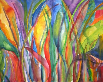 Art Painting Abstract Tropical Banana Leaves Watercolor Print