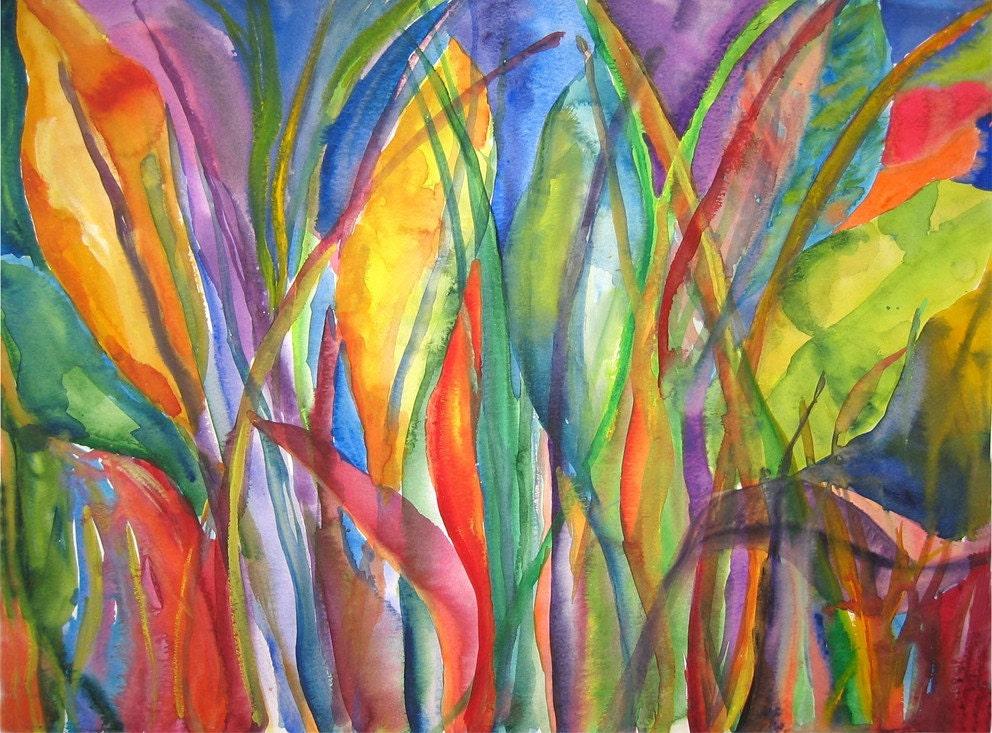 Art Painting Abstract Tropical Banana Leaves Watercolor Print