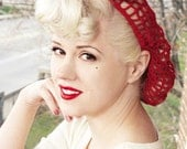 Vintage RetroPinup Hair Snood in Warm Red Crocheted from 1940's Design LIMITED QUANTITY