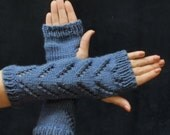 Fingerless Gloves - Chevron Lace Hobo Gloves - Zig Zag Lace Fashion Arm Warmers -  Blue Texting Mitts - Hand Warmer Winter Accessories