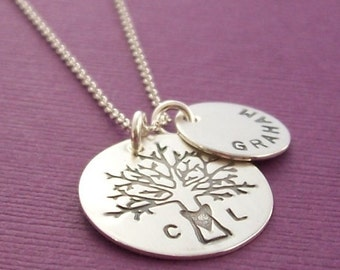 Woodland Family Tree Necklace - Personalized Necklace - Tree of Life w/ Initials and Child's Name - Hand Stamped Sterling Silver by EWD