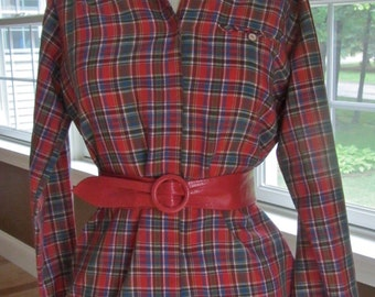 Womens Red Plaid Shirt Long Sleeve Vintage 1970s  Laura Mae Size 10 - 12  Final Clearance