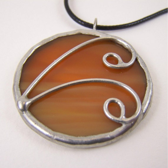 Creme Caramel - Stained Glass Pendant with Black Cord