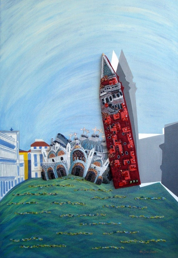 Sinking ST. MARK's SQUARE beaded painting Venice Italy 24 x 36 canvas