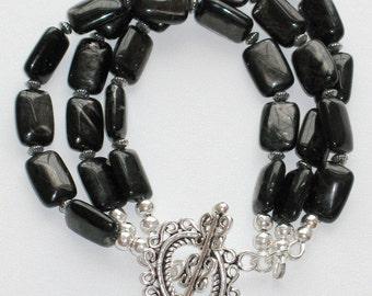 Hypersthene Gemstone Bracelet, Sterling Silver Bracelet, Multi Strand Bracelet, Vintage-look Victorian - Dark Dreams