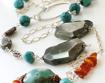 Turquoise Sterling Silver Long Necklace, Beaded Gemstone Necklace with Amber, Pyrite, and Copper, Southwestern Jewelry - Idiosyncrasy