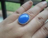 Blue chalcedony ring - Blue ring - Oval ring - Bezel ring - Bold ring - Custom ring - Gemstone ring - Gift for her