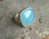 Cabochon ring - Bezel ring - Blue ring - Chalcedony ring - Square ring - Unique ring - Cushion cut - Gift for her