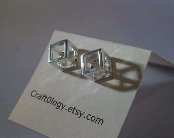 Sterling Silver Cube Earrings