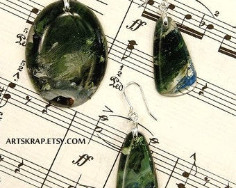 Wintergreen, Pendant and earring set artskrap, artisian made, upcycled chic,  recycled jewelry, enviro chic, fashion