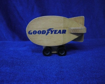 Vintage Good Year Advertising Souvenir Wooden Blimp By Mattel, Inc 1972